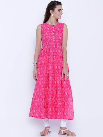 Vishudh Women Pink & White Printed A-Line Kurta
