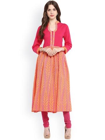 Bhama Couture Women Pink Printed Yoke Design A-Line Kurta