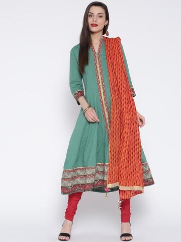 Rain & Rainbow Green & Red Printed Anarkali Churidar Kurta with Dupatta
