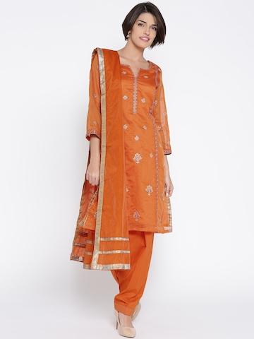 1c8dda77e3 50% OFF on Biba Orange Embroidered Salwar Suit with Dupatta on Myntra |  PaisaWapas.com