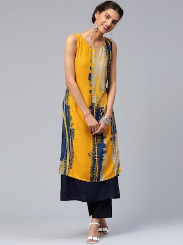 Libas Women Yellow & Navy Printed Layered Straight Kurta