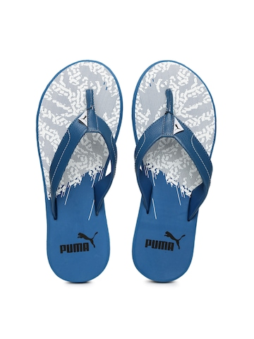 20cc136ea99e 45% OFF on Puma Men Blue   White Wrens II GU DP Printed Flip-Flops on  Myntra