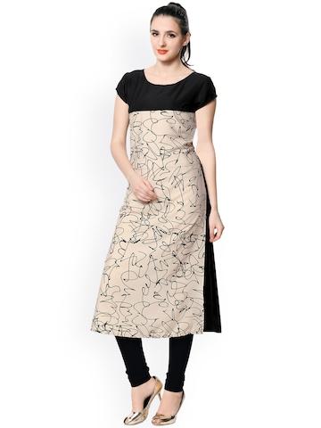 Vaamsi Women Beige & Black Printed Straight Kurta