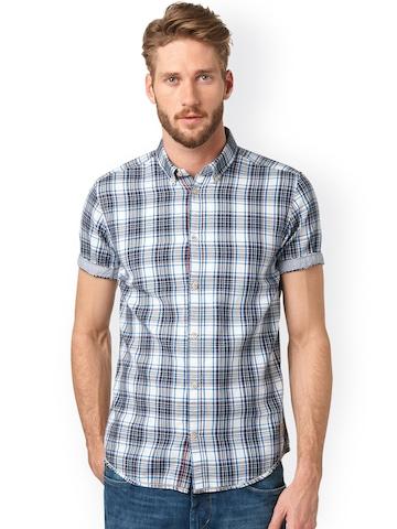 buy tom tailor blue slim fit checked casual shirt on. Black Bedroom Furniture Sets. Home Design Ideas