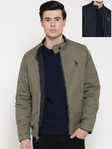 U.S. Polo Assn. Navy & Olive Green Padded Reversible Jacket