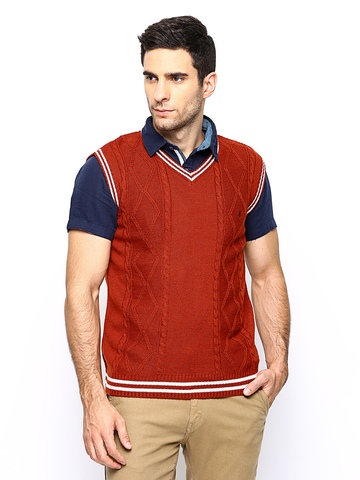 John Players Men Rust Orange Wool Blend Sleeveless Sweater