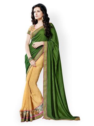 Prafful Green & Beige Brasso Partywear Saree