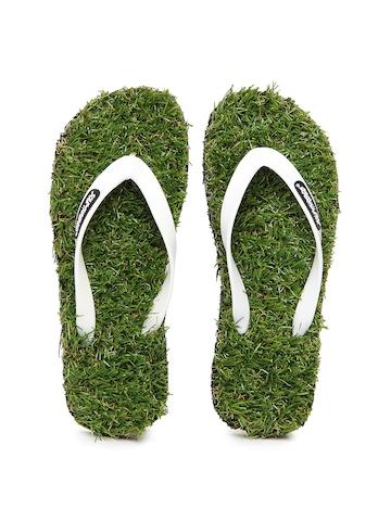 f13e77f95a Buy Sole Threads Men White   Green Grass Flip Flops on Myntra ...