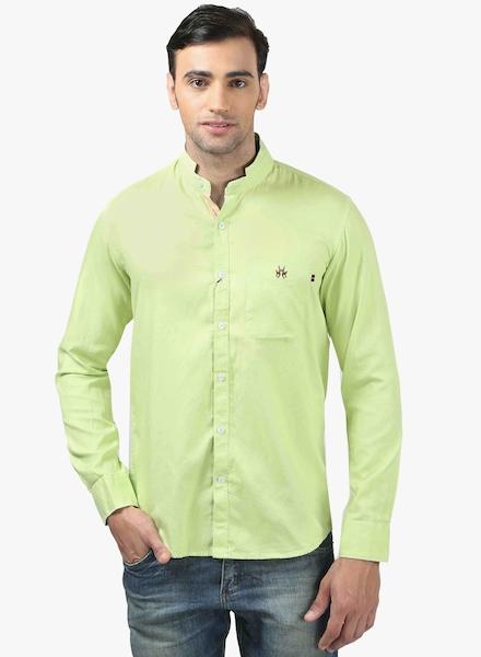 Crimsoune Club Green Solid Slim Fit Casual Shirt Crimsoune Club Shirts