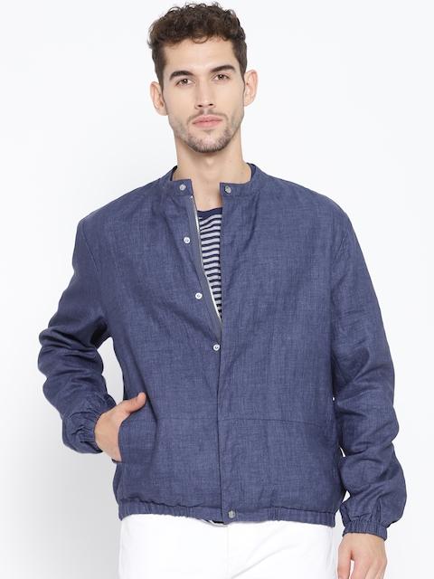 Blackberrys Men Navy Blue Solid Chambray Slim-Fit Jacket