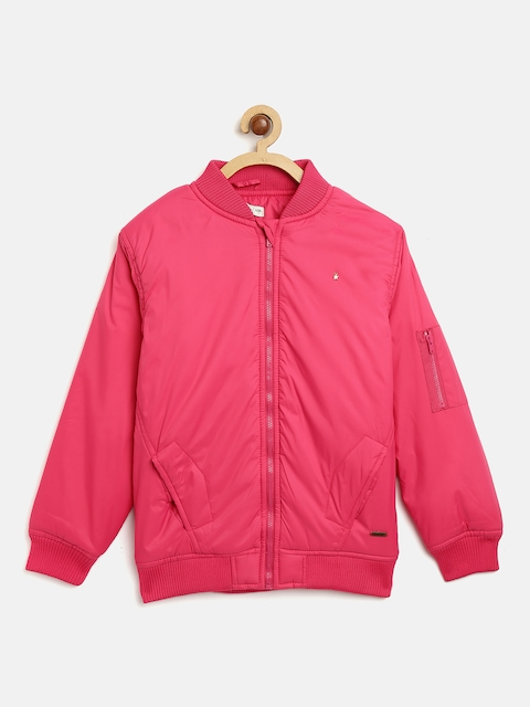 Palm Tree Girls Pink Solid Bomber Jacket
