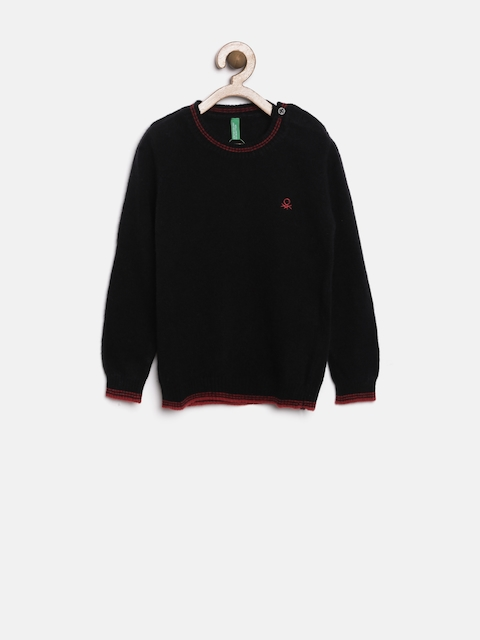 United Colors of Benetton Boys Black Woolen Sweater