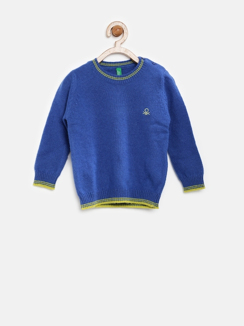 United Colors of Benetton Boys Blue Wollen Sweater