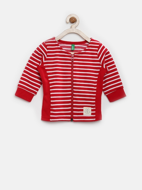 United Colors of Benetton Girls Red & White Striped Jacket