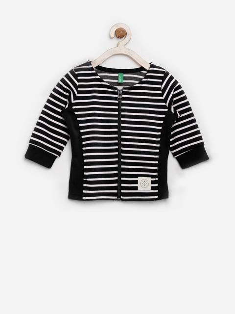 United Colors of Benetton Girls Black & White Striped Jacket