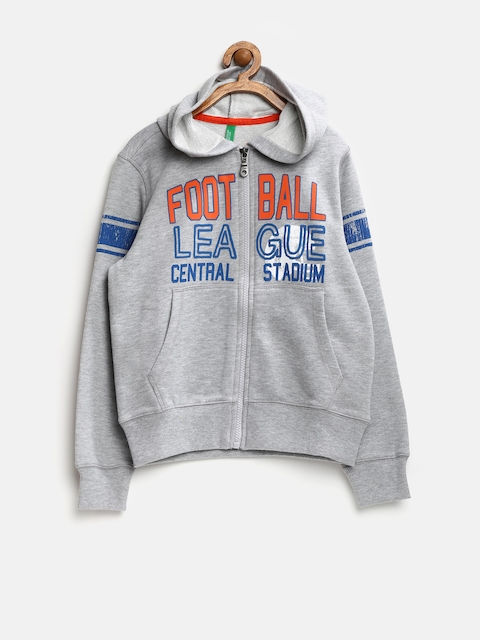 United Colors of Benetton Boys Grey Melange Hooded Sweatshirt