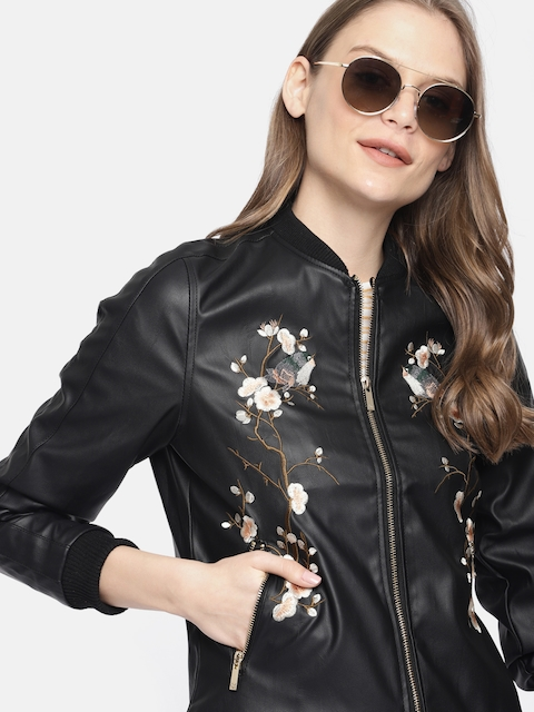 Mast & Harbour Women Black Solid Embroidered Jacket