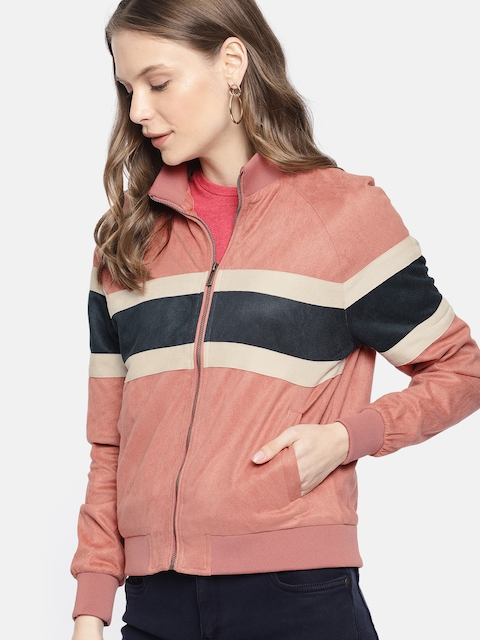Mast & Harbour Women Pink Striped Jacket