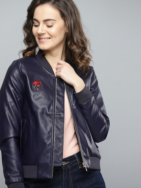 Mast & Harbour Women Navy Blue Solid Bomber Jacket