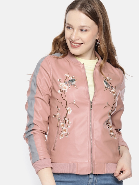 Mast & Harbour Women Pink Solid Embroidered Bomber Jacket