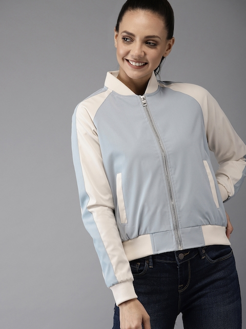 HERE&NOW Women Blue Solid Bomber Jacket