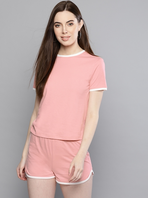 Besiva Women Pink Solid T-shirt with Shorts
