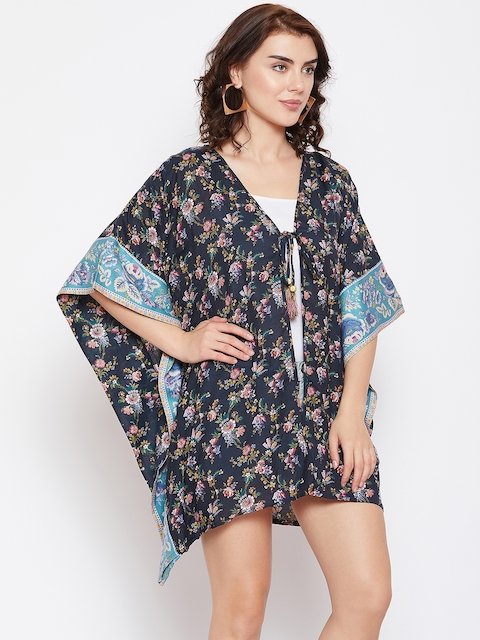 The Kaftan Company Women Navy Floral Print Open Front Shrug