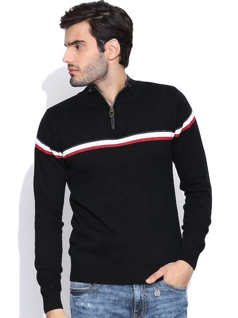 Pepe Jeans Black Sweater with Striped Detail