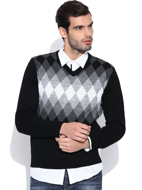 Pepe Jeans Black Argyle Patterned Sweater