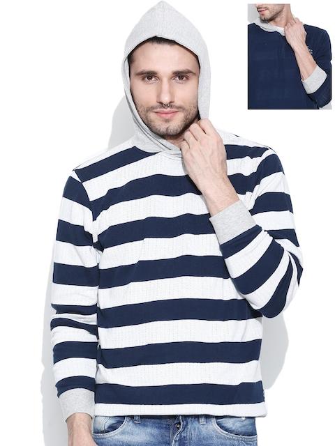 Pepe Jeans Off-White & Navy Hooded Reversible Sweatshirt