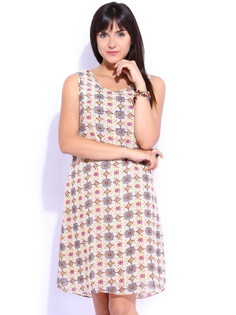 Mineral Beige Printed A-Line Dress  available at myntra for Rs.1329