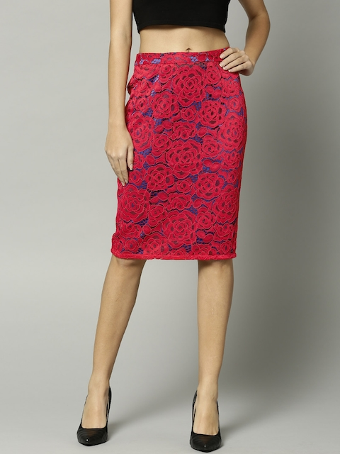 Marks & Spencer Red Lace Pencil Skirt