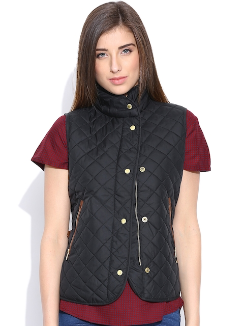 Pepe Jeans Black Quilted Sleeveless Jacket
