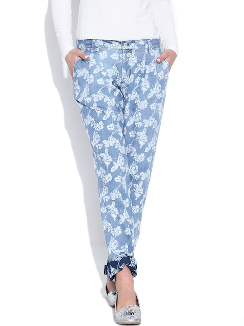 Pepe Jeans Blue Floral Print Denim Casual Trousers