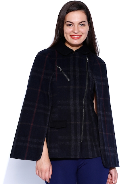 ONLY Black Checked Woollen Cape Jacket