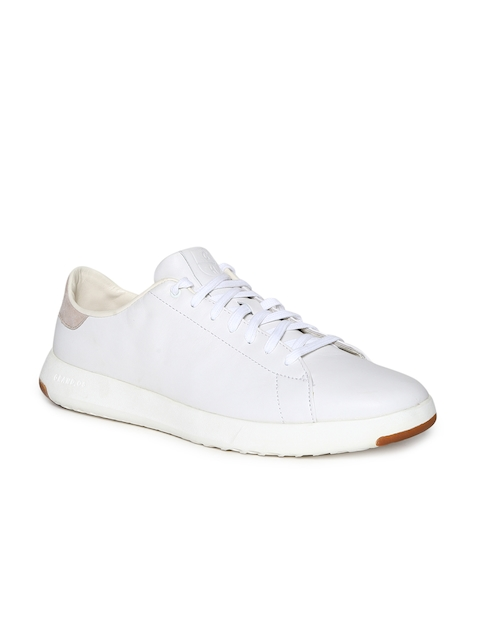 Cole Haan Men White Leather Sneakers