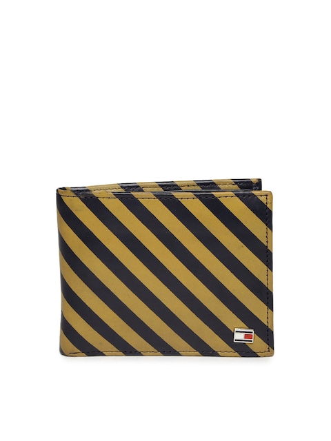 Tommy Hilfiger Men Mustard Yellow & Navy Striped Leather Wallet