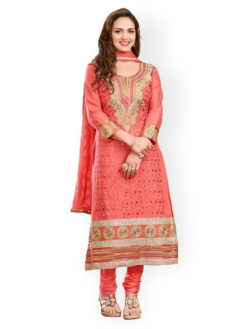 Blissta Pink Cotton Unstitched Dress Material