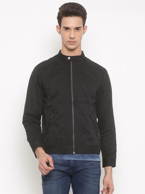 People Men Black Solid Biker Jacket