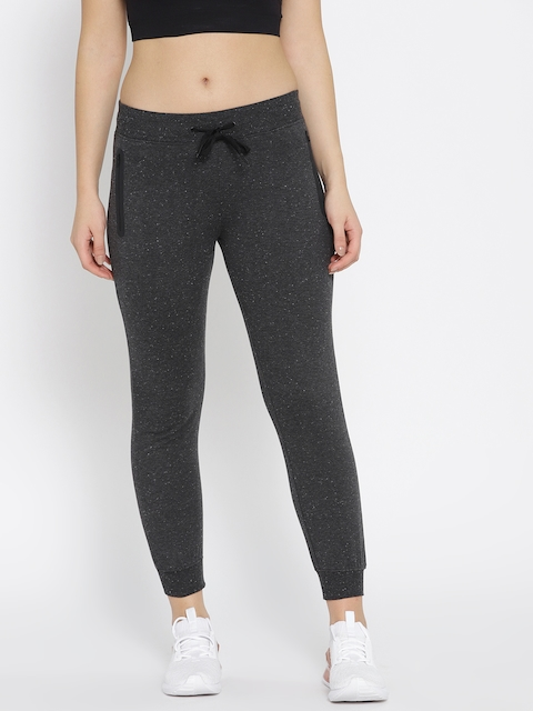HRX by Hrithik Roshan Women Charcoal Grey Solid Slim Fit Cropped Joggers