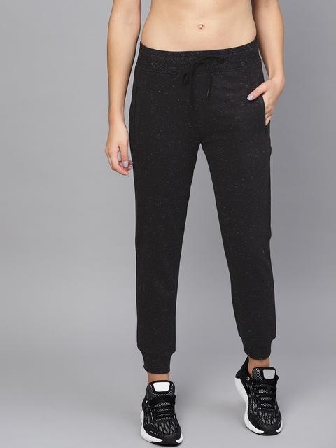 HRX by Hrithik Roshan Women Black Slim Fit Self-Design Lifestyle Joggers