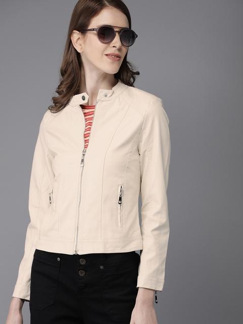 HERE&NOW Women Off-White Solid Biker Jacket