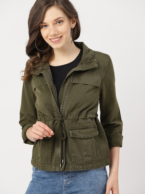 DressBerry Women Olive Green Solid Tailored Jacket