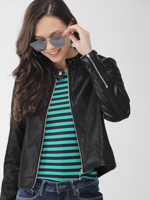 Mast & Harbour Women Black Solid Biker Jacket