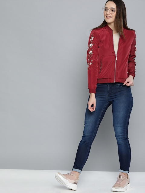 Mast & Harbour Women Red Solid Bomber Jacket