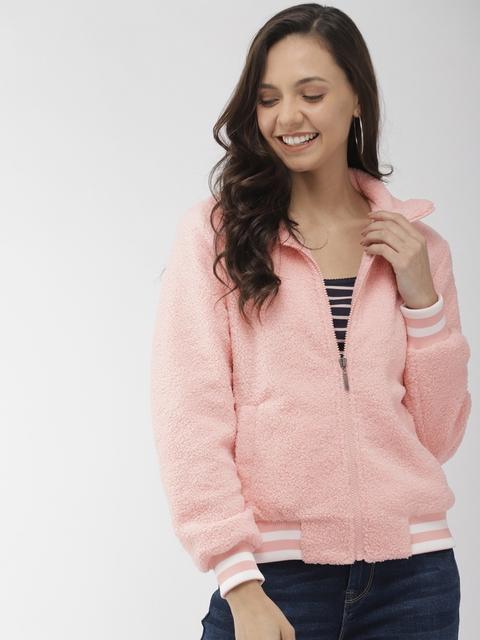 Mast & Harbour Women Pink Solid Lightweight Bomber Jacket