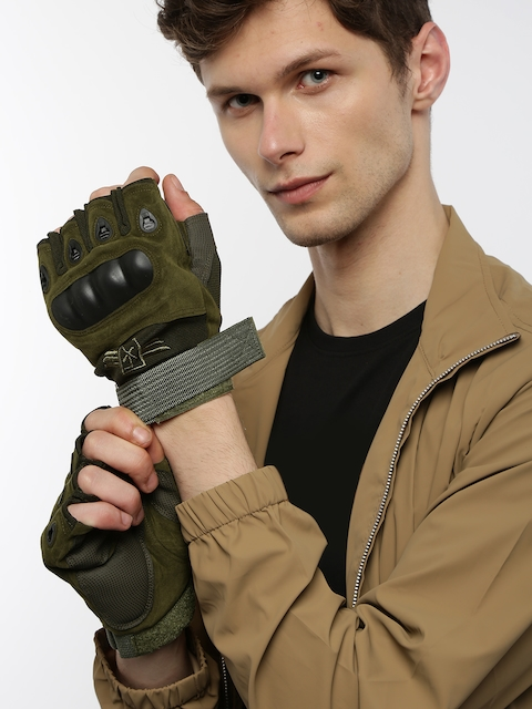 Roadster Men Olive Green Motor Bike Hand Gloves