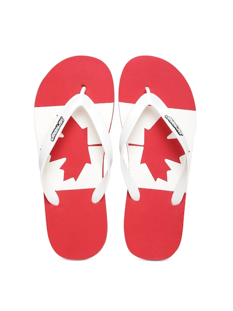 Sole Threads Men White & Red Flip-Flops