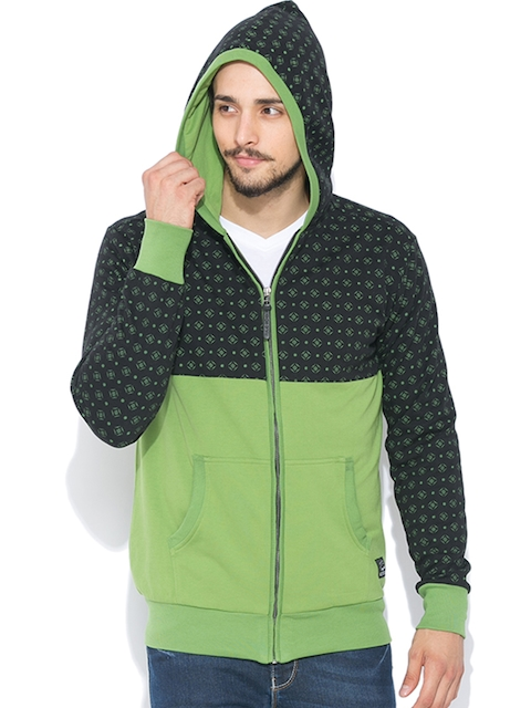 Status Quo Black & Green Printed Hooded Sweatshirt