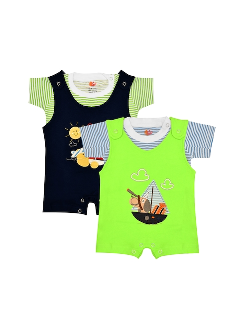 Orange and Orchid Kids Pack Of 2 T-shirts with Dungarees